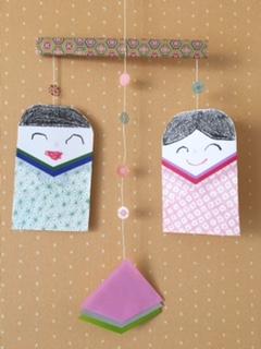 折り紙で作ったつるし雛