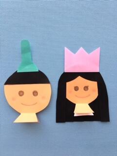 お殿様とお雛様に烏帽子と冠をのせる
