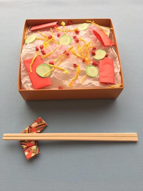 折り紙で作ったちらし寿司と箸置き