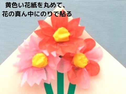 花の真ん中にのりで黄色い花紙を貼る