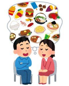 食べ物を思い浮かべるカップル
