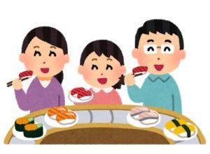 回転すしを食べる親子