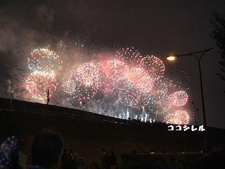 淀川花火大会十三側観覧スポット夜の様子