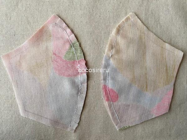 マスクの曲線部分の縫いしろに切り込みを入れる